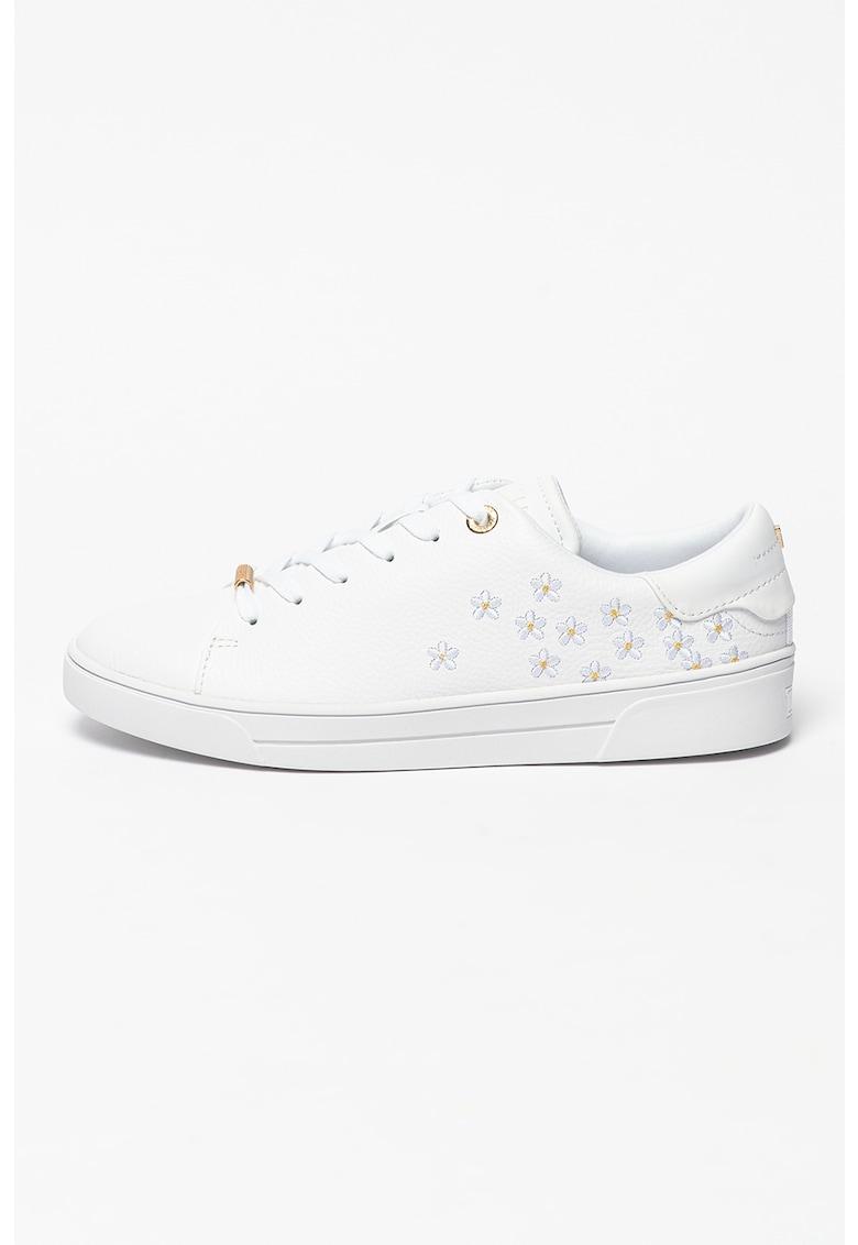 Pantofi sport de piele cu motive florale brodate Adial