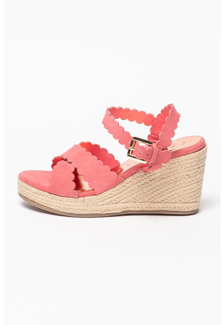 Sandale-espadrile wedge de piele intoarsa Selanas