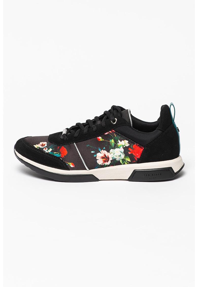 Pantofi sport cu imprimeu floral si insertii de piele intoarsa Ceyuh