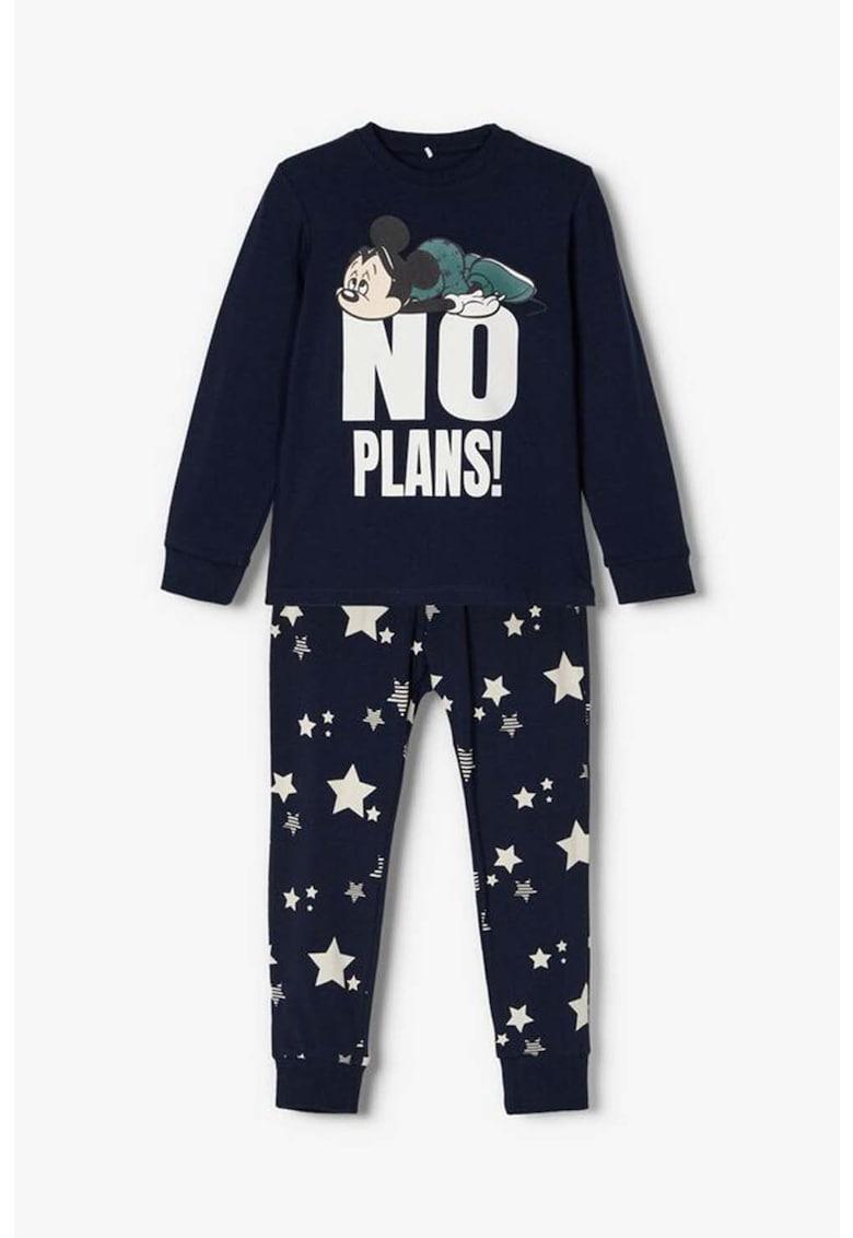 Pijama din amestec de bumbac organic cu imprimeu imagine fashiondays.ro