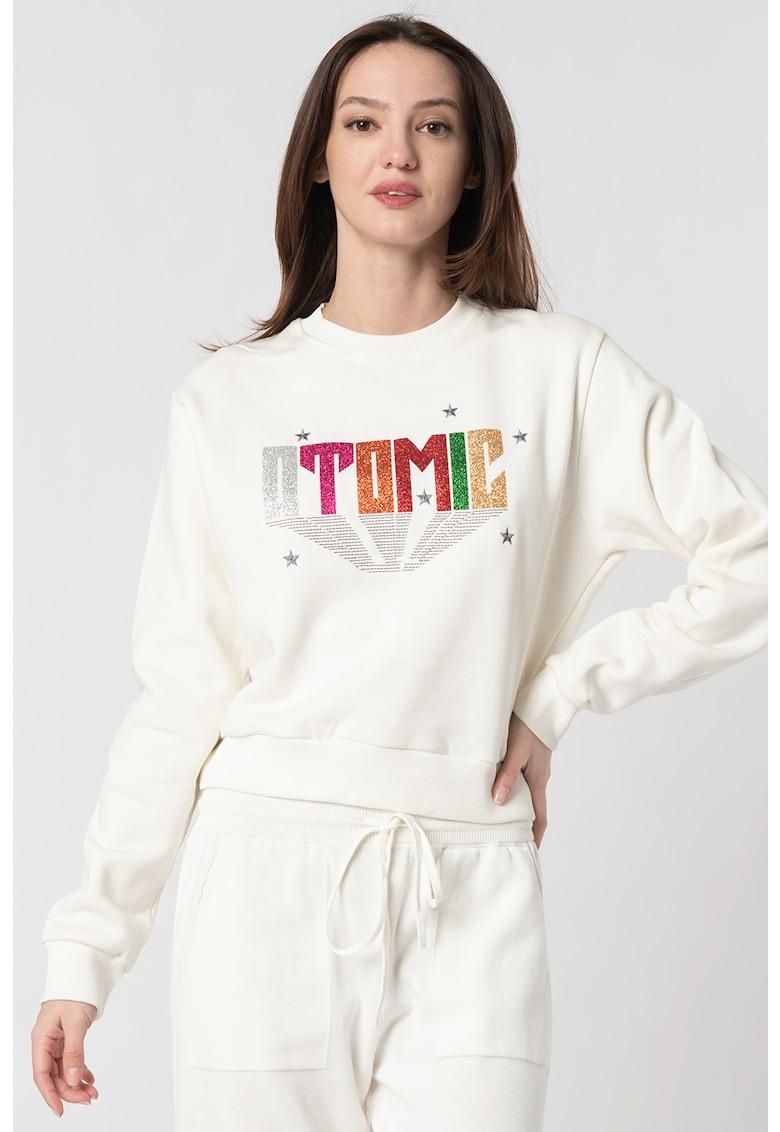 Bluza sport cu decolteu la baza gatului si imprimeu text stralucitor