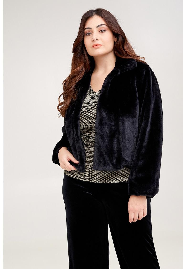 Jacheta din blana sintetica cu guler scurt