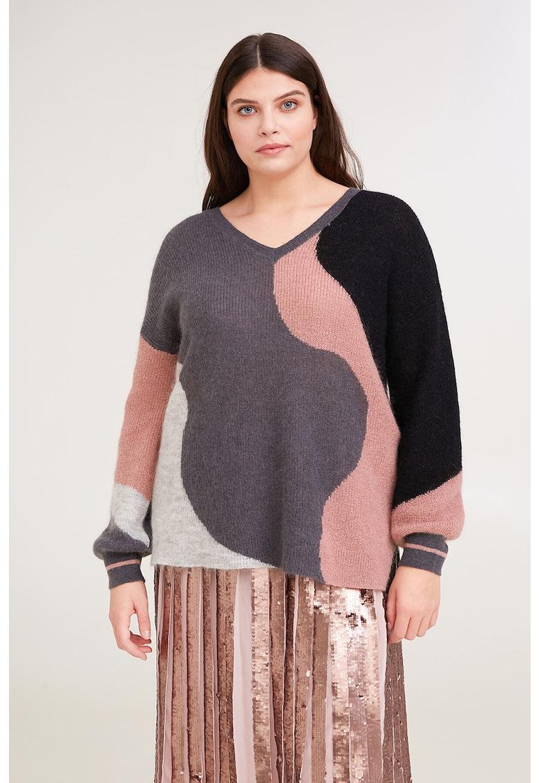 Pulover din amestec de lana si mohair cu model colorblock de la Fiorella Rubino