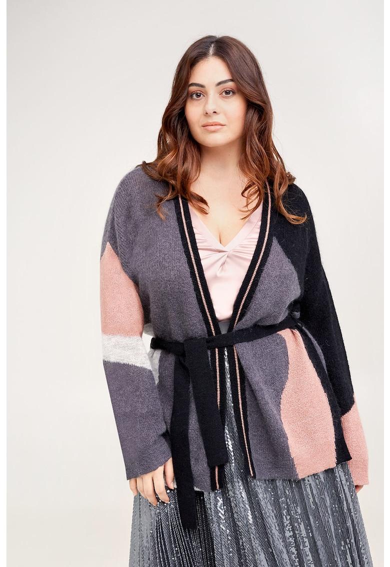 Cardigan din amestec de lana si mohair cu model colorblock de la Fiorella Rubino