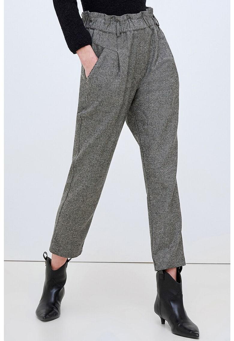 Pantaloni crop cu talie elastica