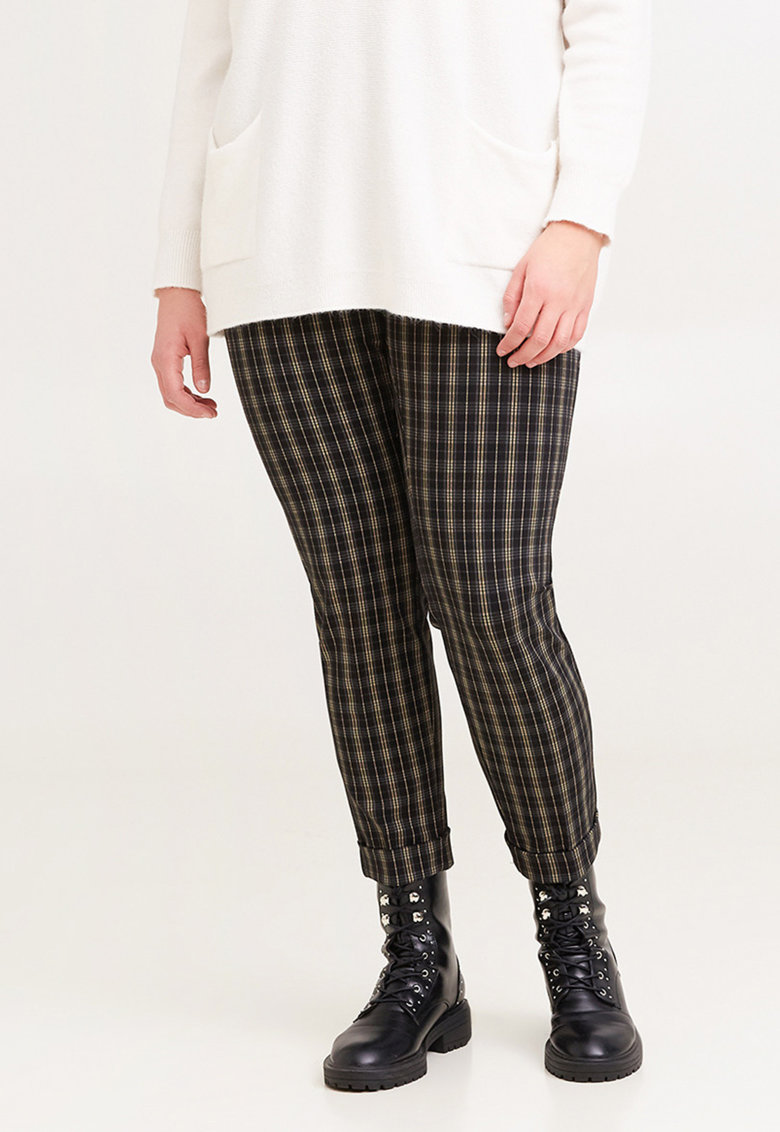 Pantaloni cu imprimeu in carouri