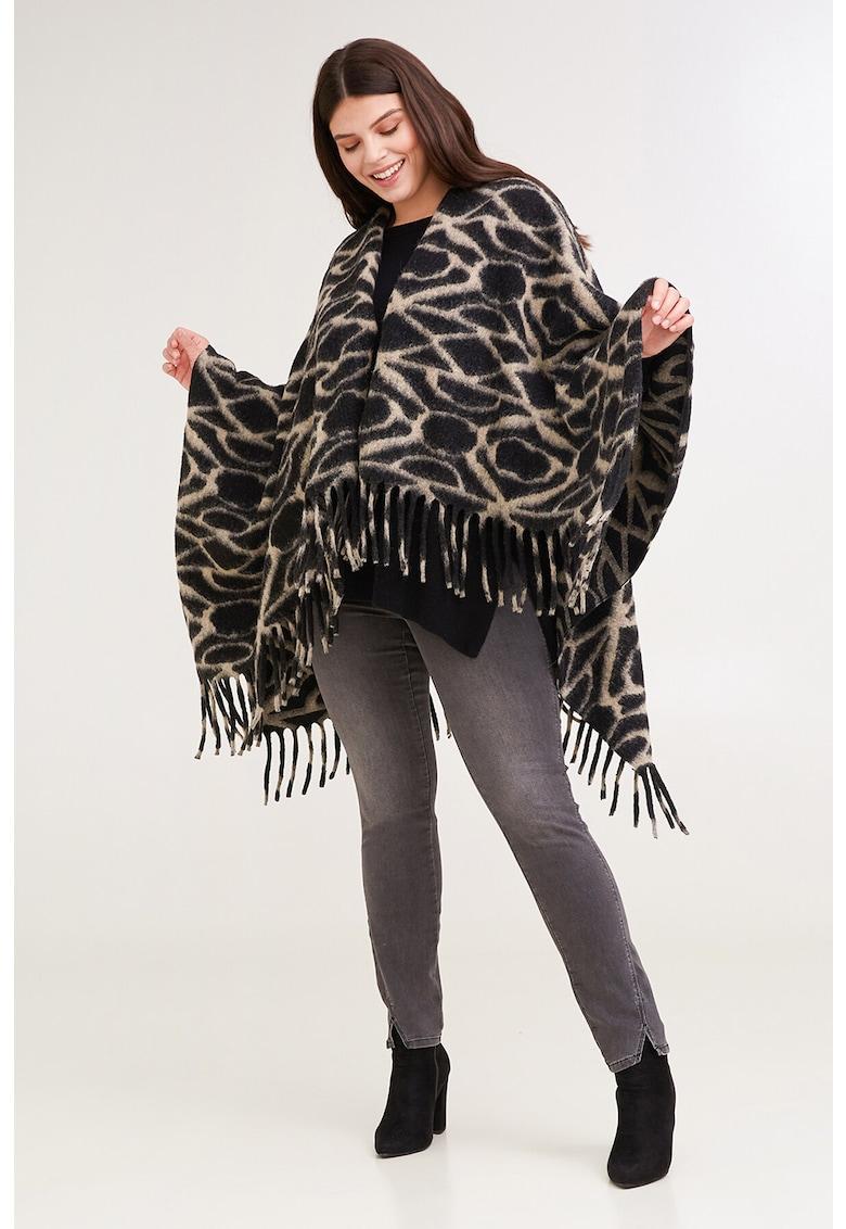 Poncho din amestec de lana cu imprimeu