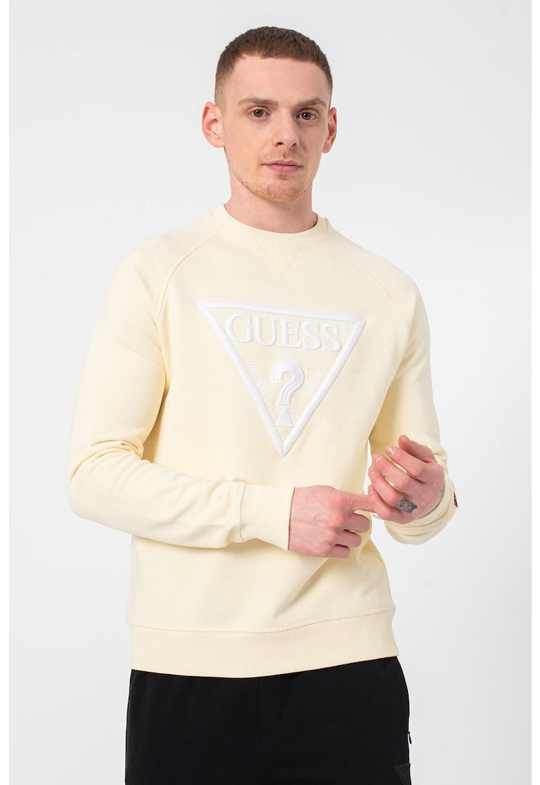 Bluza sport cu decolteu la baza gatului si broderie in relief imagine fashiondays.ro Guess