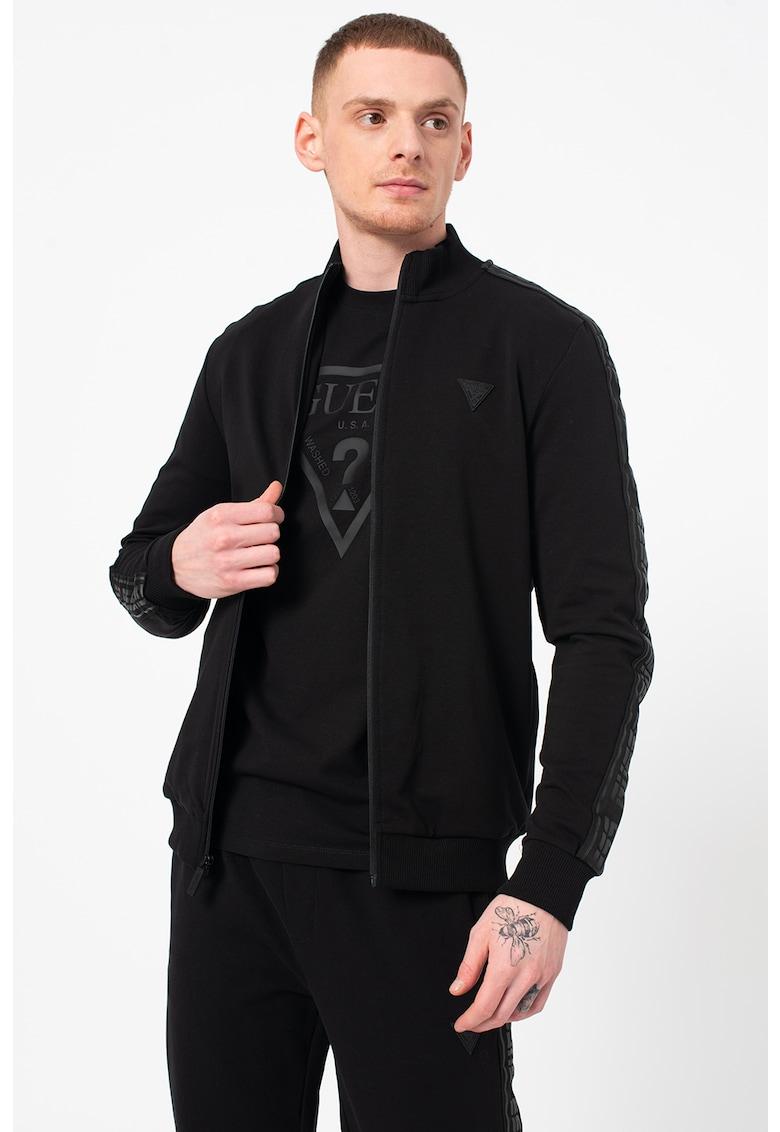 Bluza sport cu fermoar si insertii logo imagine fashiondays.ro Guess