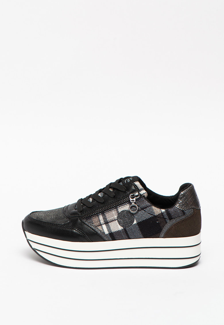 Pantofi sport cu platforma de piele cu insertii de plasa s.Oliver fashiondays.ro