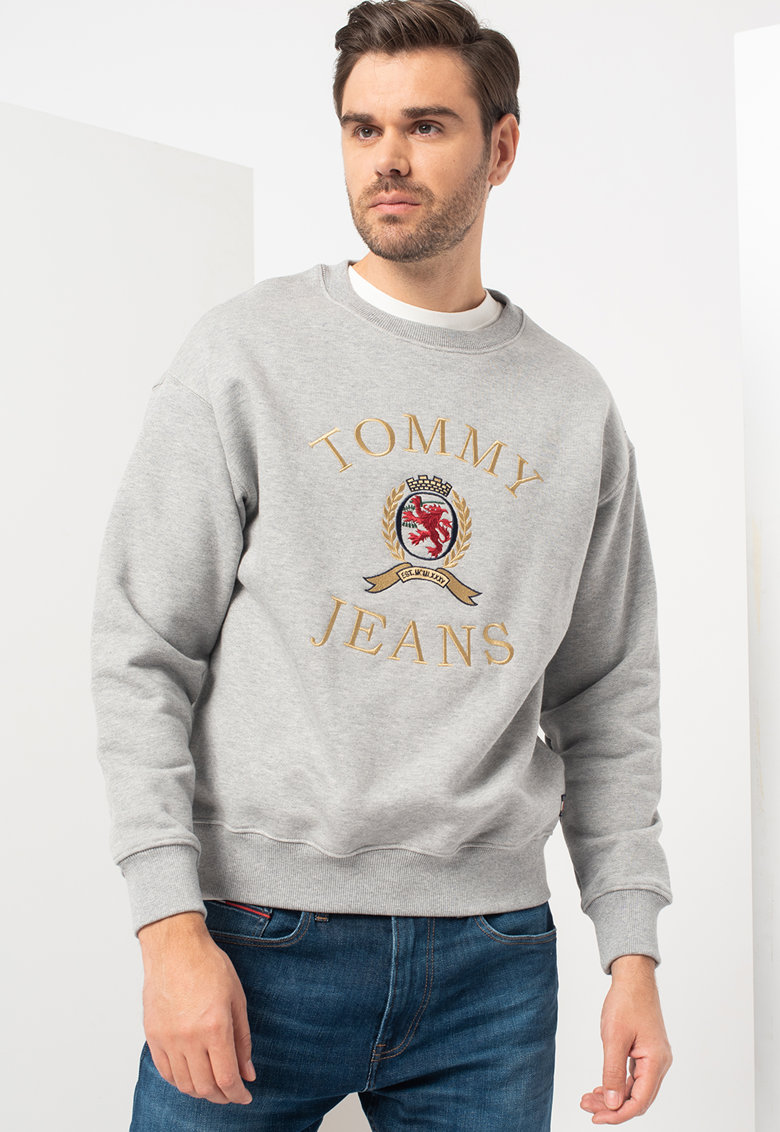 Bluza sport cu decolteu la baza gatului si logo brodat de la Tommy Jeans