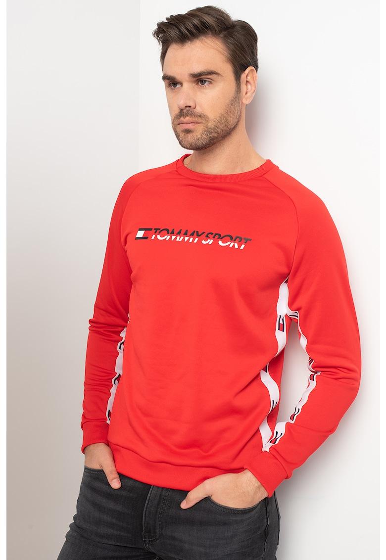 Bluza sport cu decolteu la baza gatului si imprimeu logo
