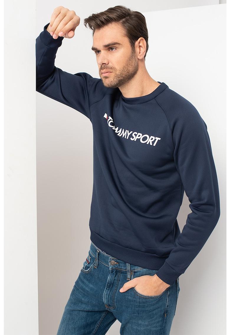 Bluza sport cu decolteu la baza gatului - logo si maneci raglan
