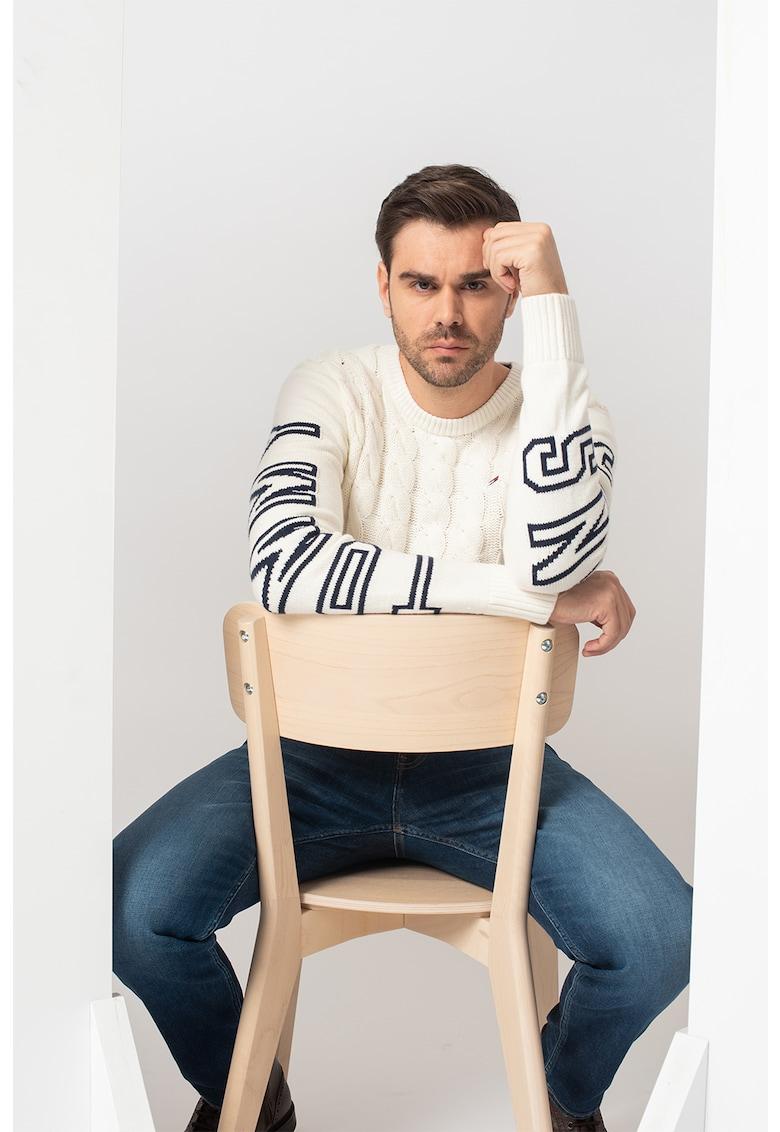 Pulover cu torsade si model logo poza fashiondays