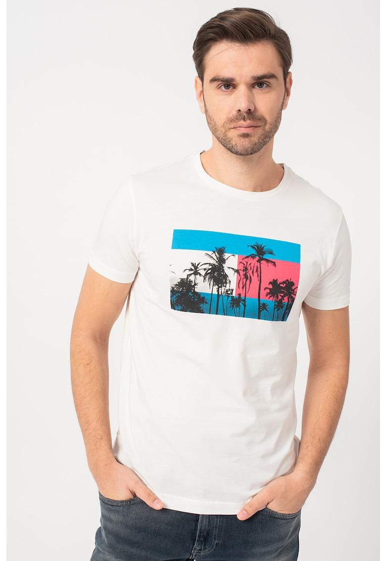 Tricou cu decolteu la baza gatului cu imprimeu grafic