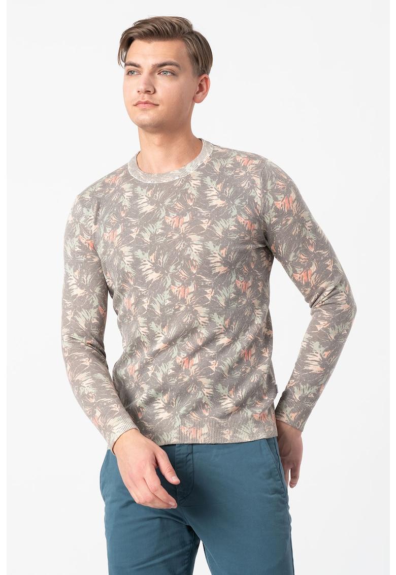 Bluza cu decolteu la baza gatului - imprimeu abstract si aspect striat