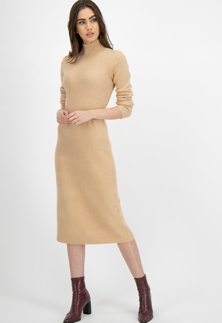 Rochie tip pulover midi din amestec de lana imagine promotie