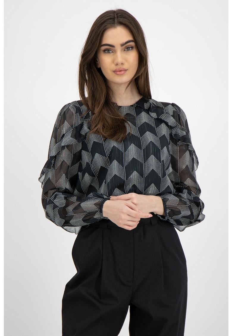 Bluza vaporoasa cu model geometric
