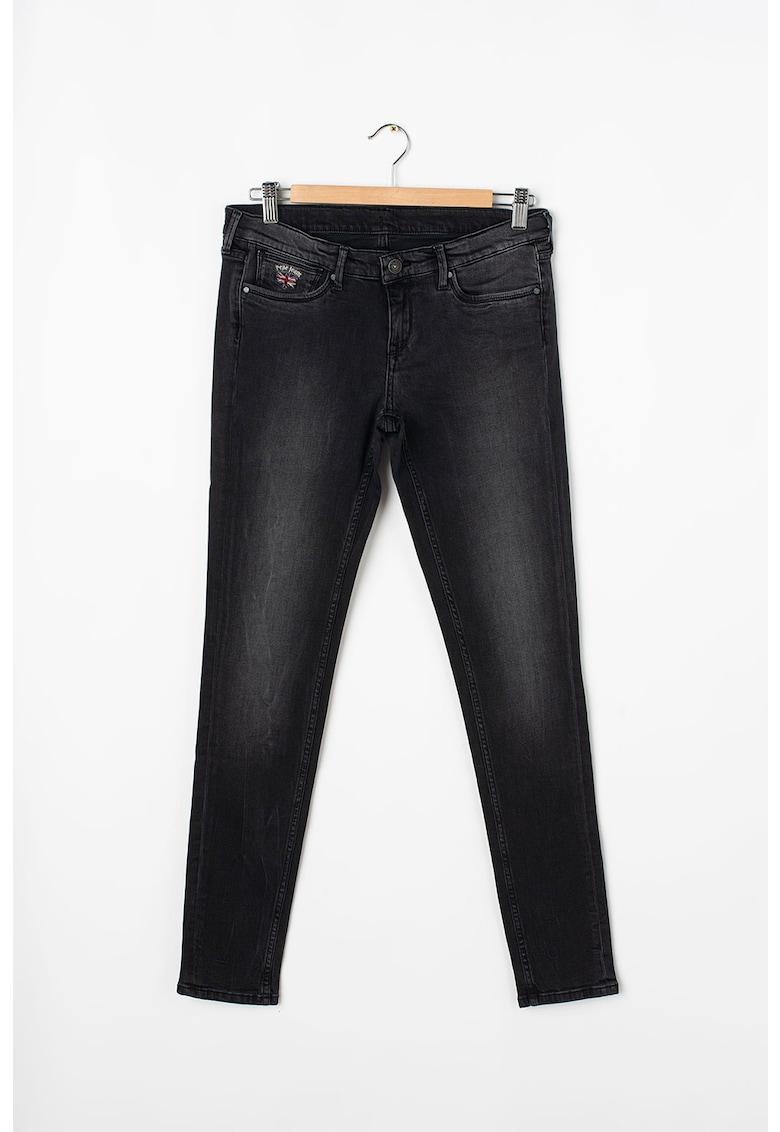 Pepe Jeans London Blugi skinny cu aspect decolorat Paulette