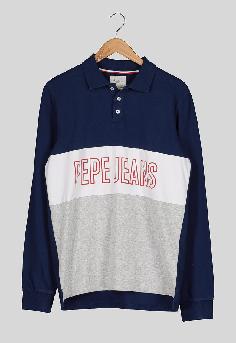 Bluza polo cu logo supradimensionat imagine