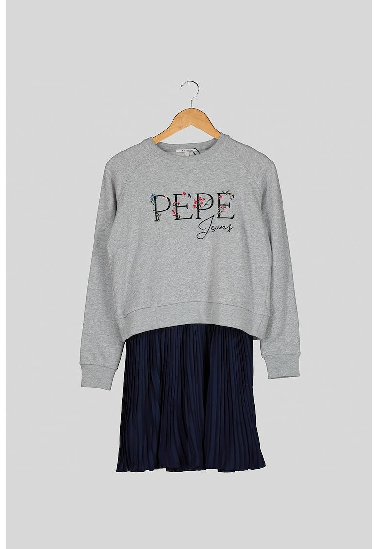 Rochie cu aspect 2in1 si parte inferioara plisata Pepe-Jeans-London