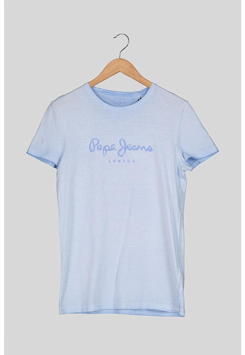 Tricou cu decolteu la baza gatului cu imprimeu logo