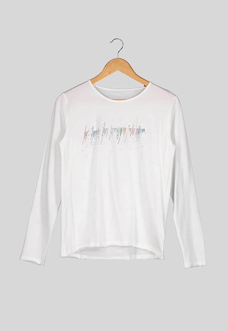 Bluza de bumbac cu imprimeu si strasuri imagine