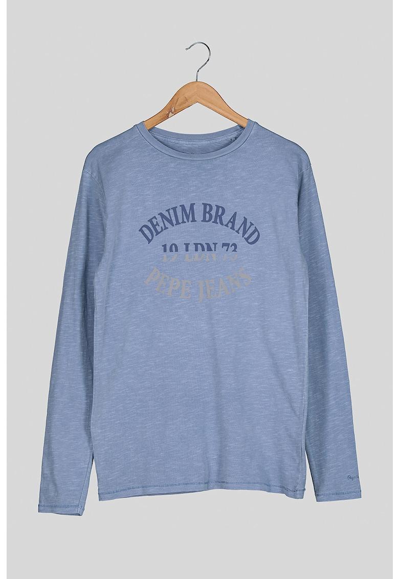 Bluza cu decolteu la baza gatului si imprimeu logo Bobby