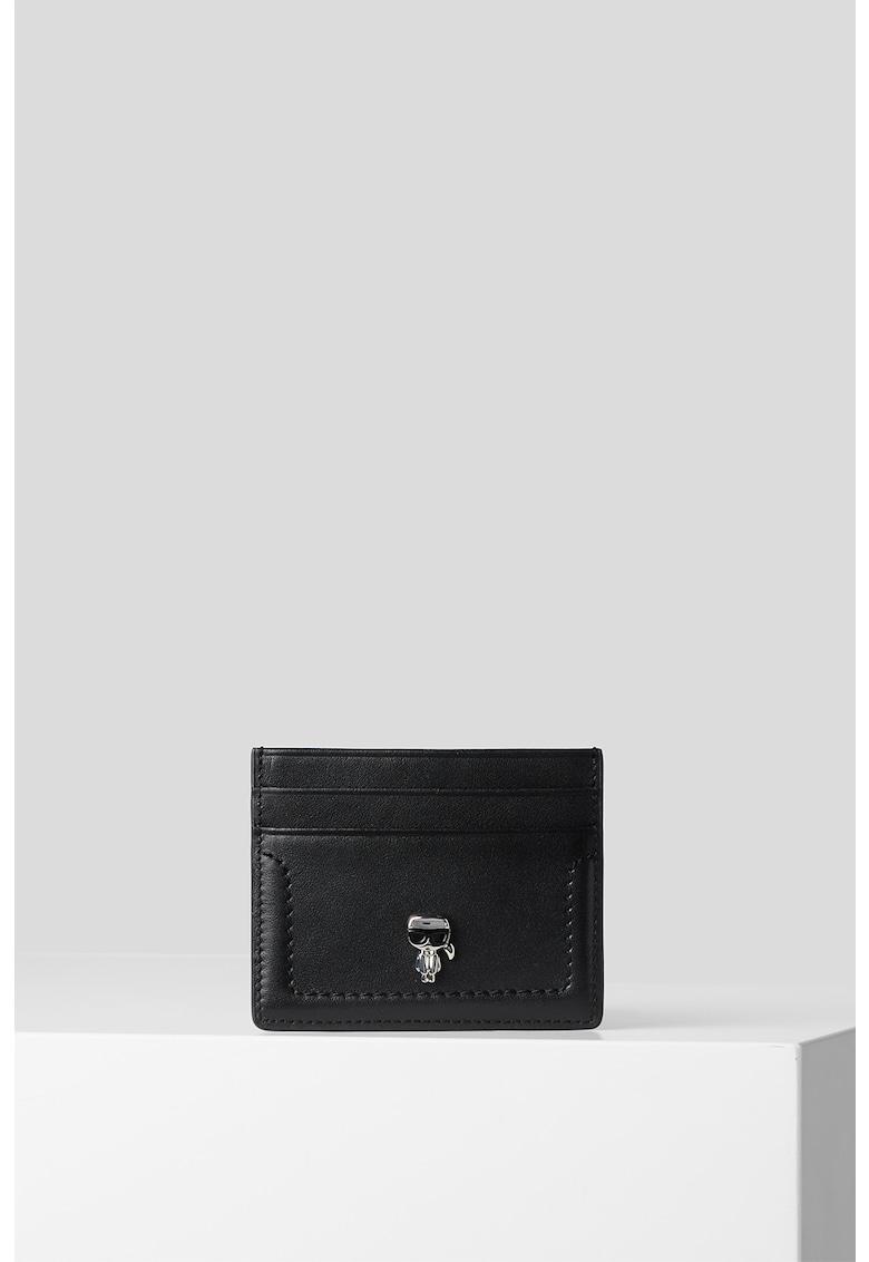 Portcart din piele cu logo K/Ikonik de la Karl Lagerfeld