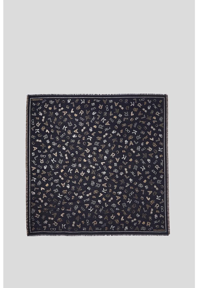 Esarfa din amestec de modal si lana cu model logo K/Ikonik poza fashiondays