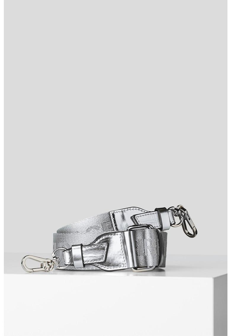 Bareta de umar cu logo si aspect metalizat Webbing imagine