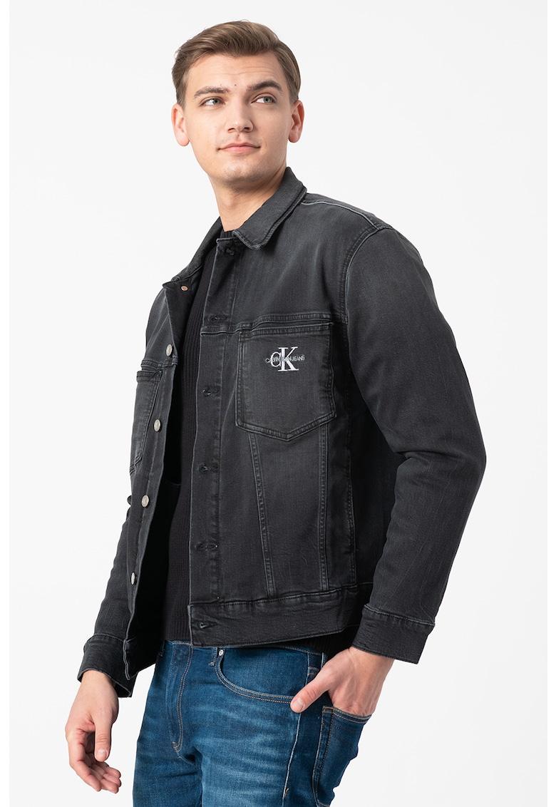 Jacheta din denim cu logo brodat