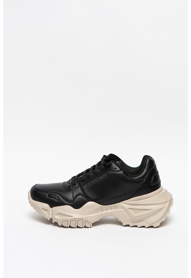 Pantofi sport de piele cu talpa masiva