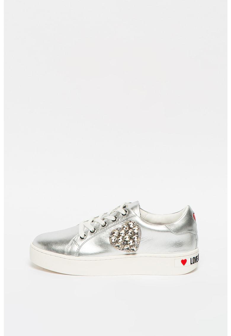 Pantofi sport de piele cu aspect metalizat