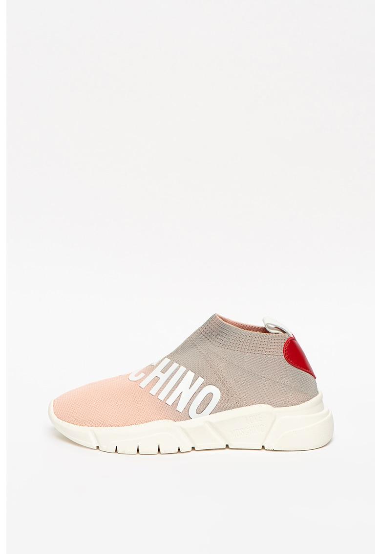 Pantofi sport slip-on wedge din material textil