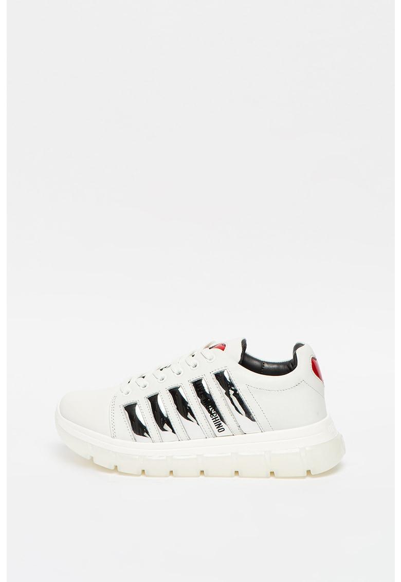 Pantofi sport de piele si piele ecologica - cu garnituri metalizate
