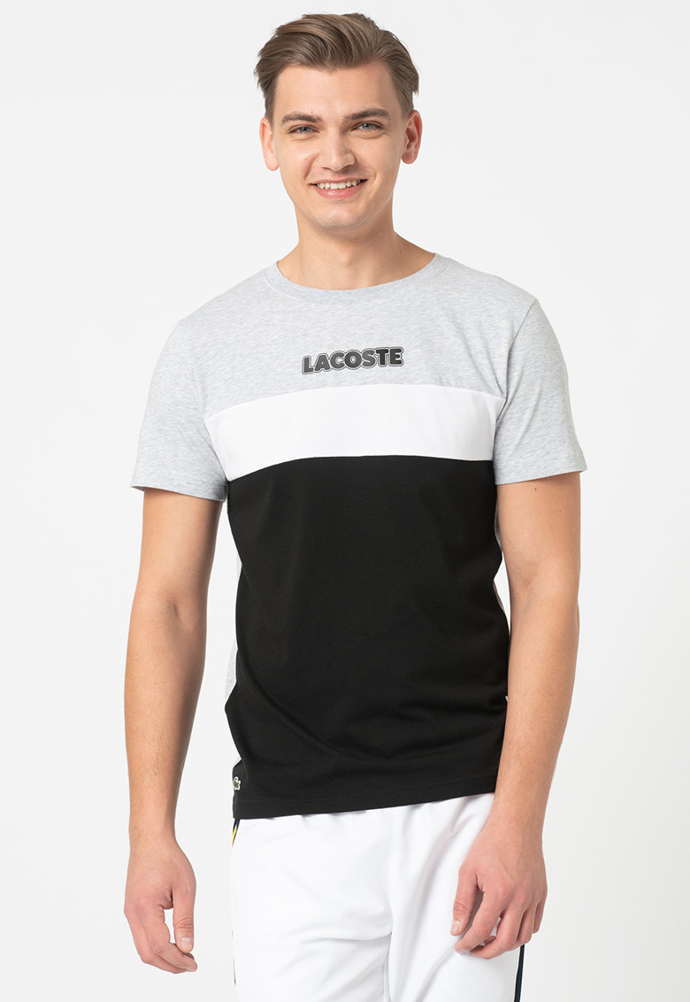 Tricou cu decolteu la baza gatului si model colorblock imagine