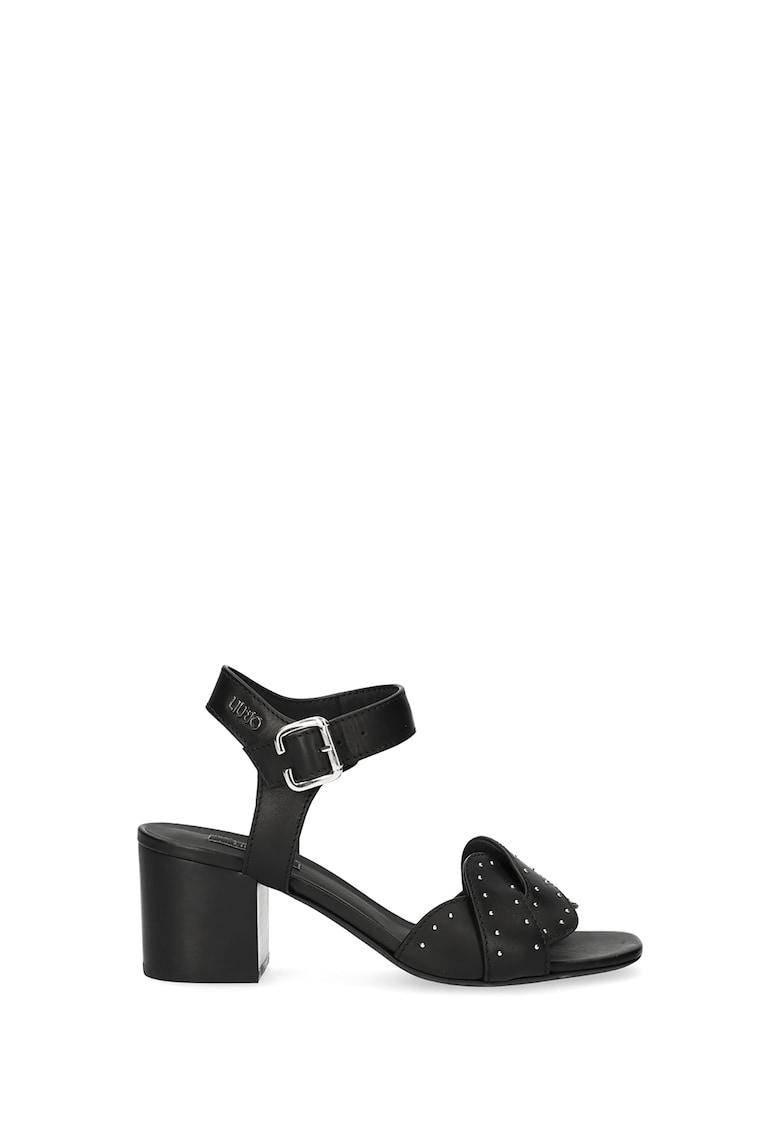 Sandale din piele cu toc inalt si aplicatii cu tinte