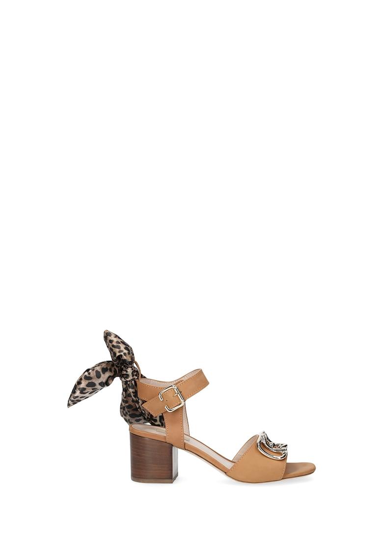 Sandale de piele cu toc inalt si varf patrat