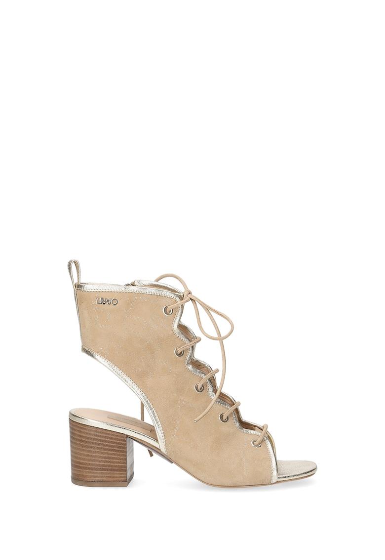 Sandale din piele cu toc inalt si fermoar