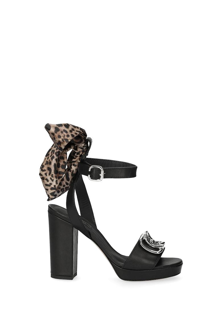 Sandale din piele cu toc inalt si animal print