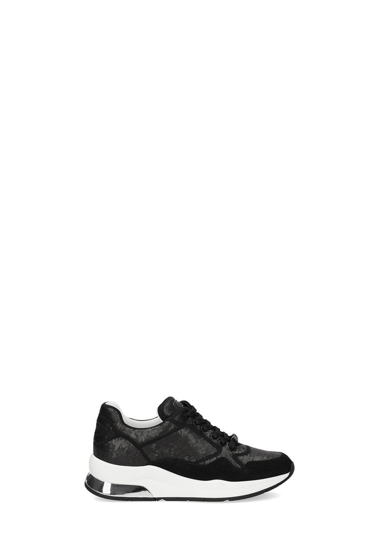 Pantofi sport cu aplicatii cu paiete si garnituri din piele