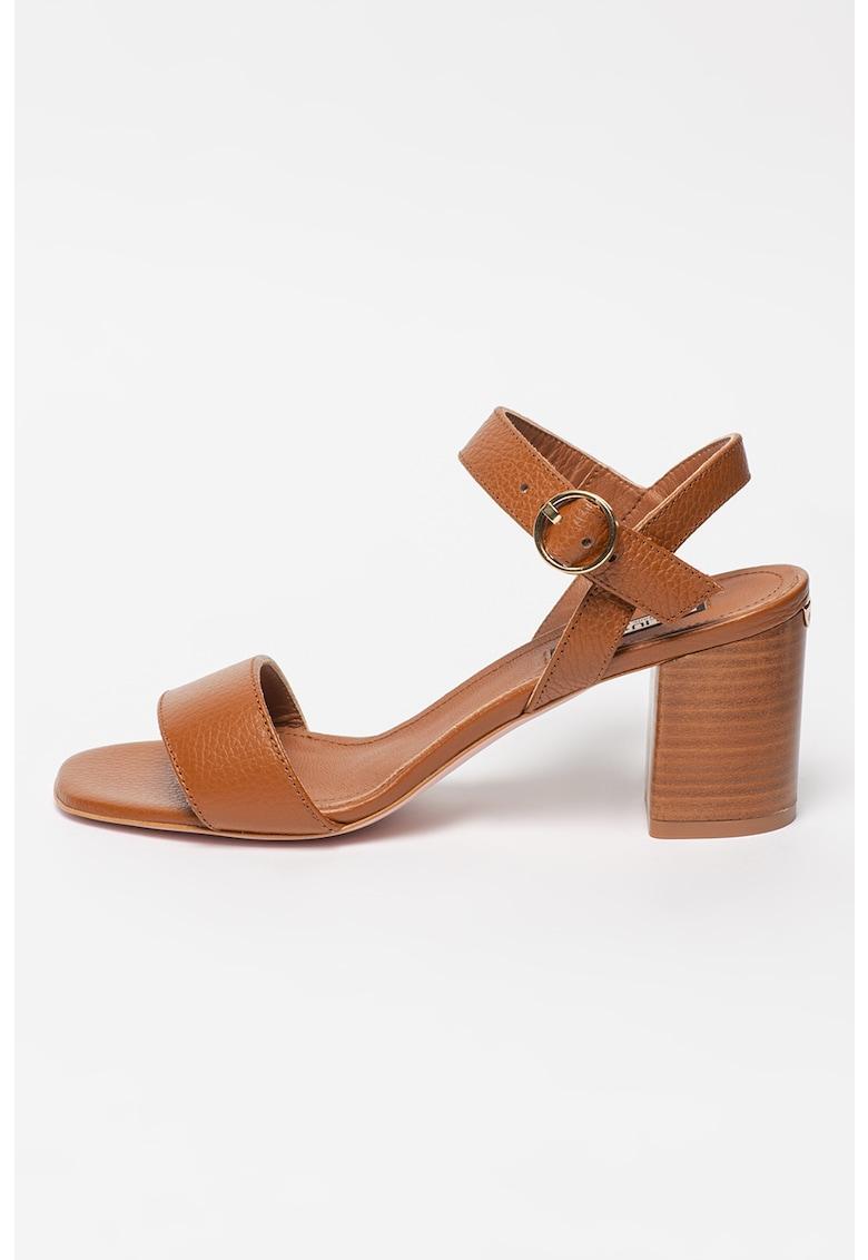 Sandale din piele nabuc cu toc masiv