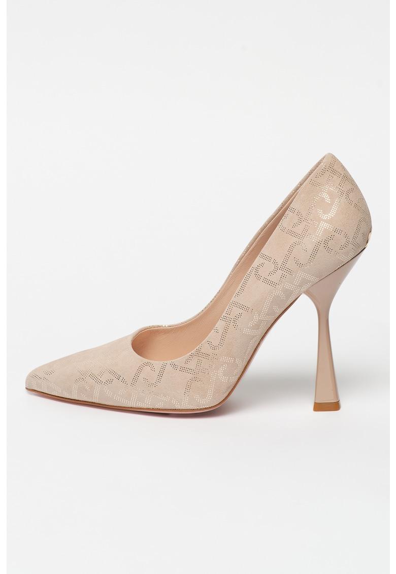 Pantofi de piele intoarsa cu varf ascutit si model logo Cleope