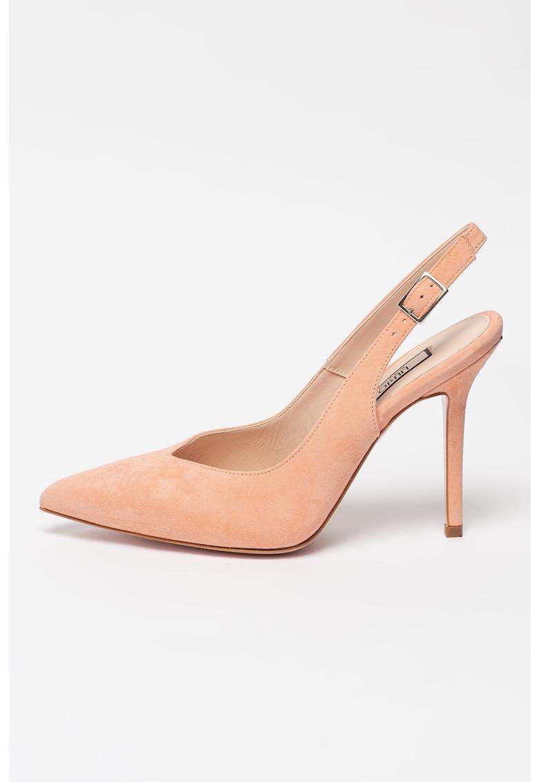 Pantofi din piele intoarsa cu varf ascutit si toc stiletto