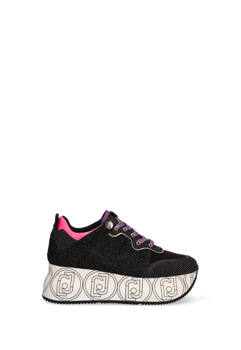 Pantofi sport flatform din piele intoarsa cu aspect stralucitor