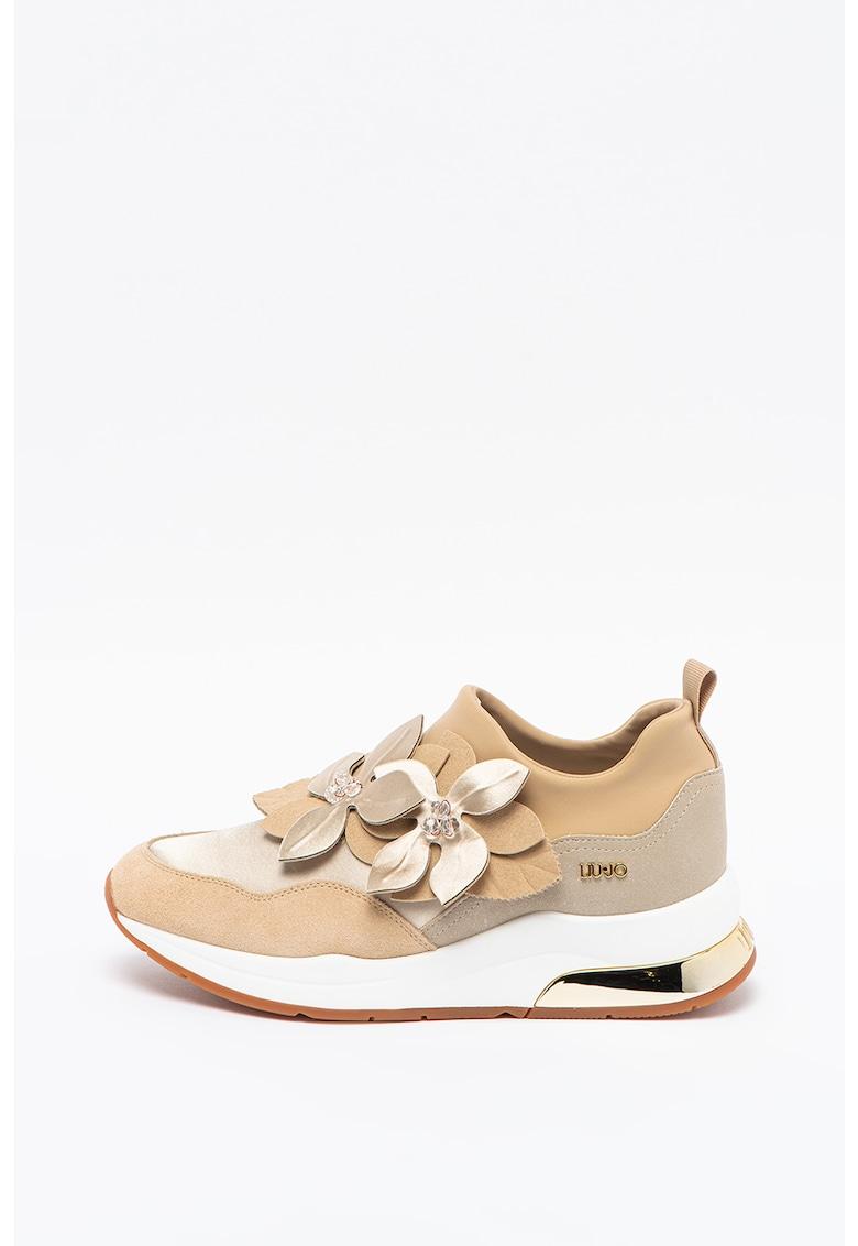 Pantofi sport slip-on din piele ecologica cu garnituri din piele intoarsa Karlie 53