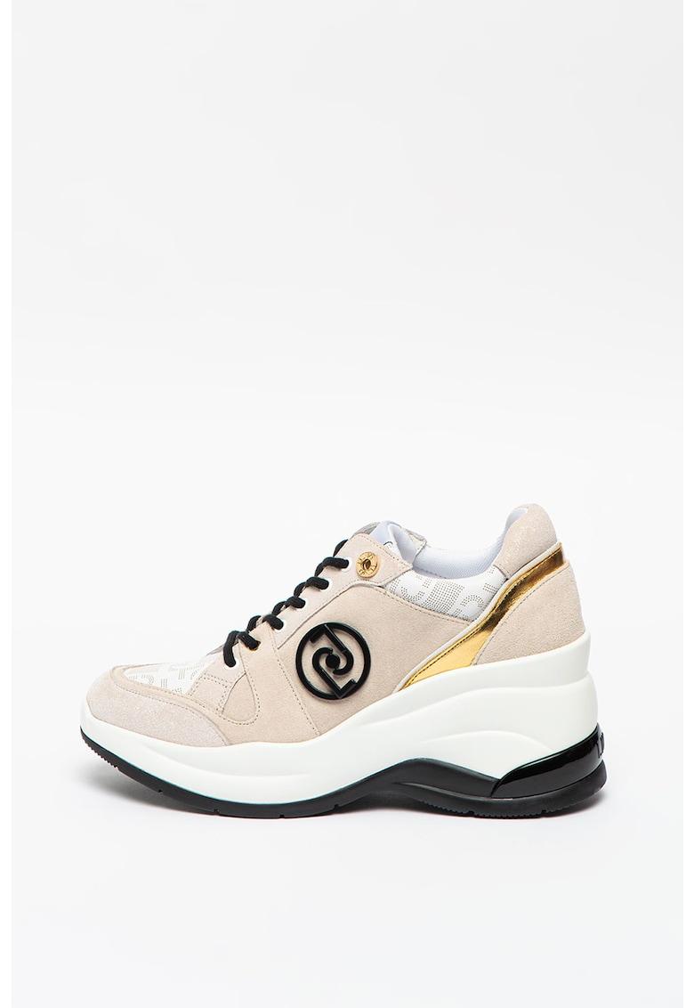 Pantofi sport wedge de piele si piele intoarsa Karlie Revolution 30