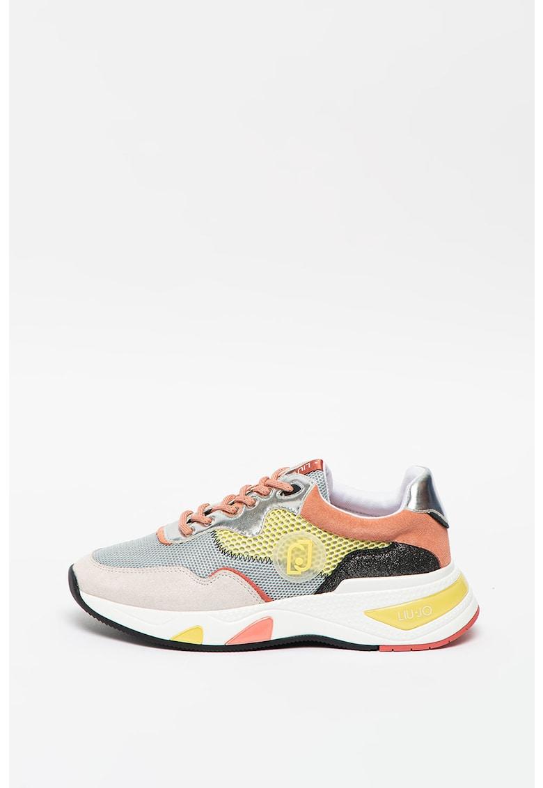 Pantofi sport cu model colorblock si garnituri de plasa si piele intoarsa