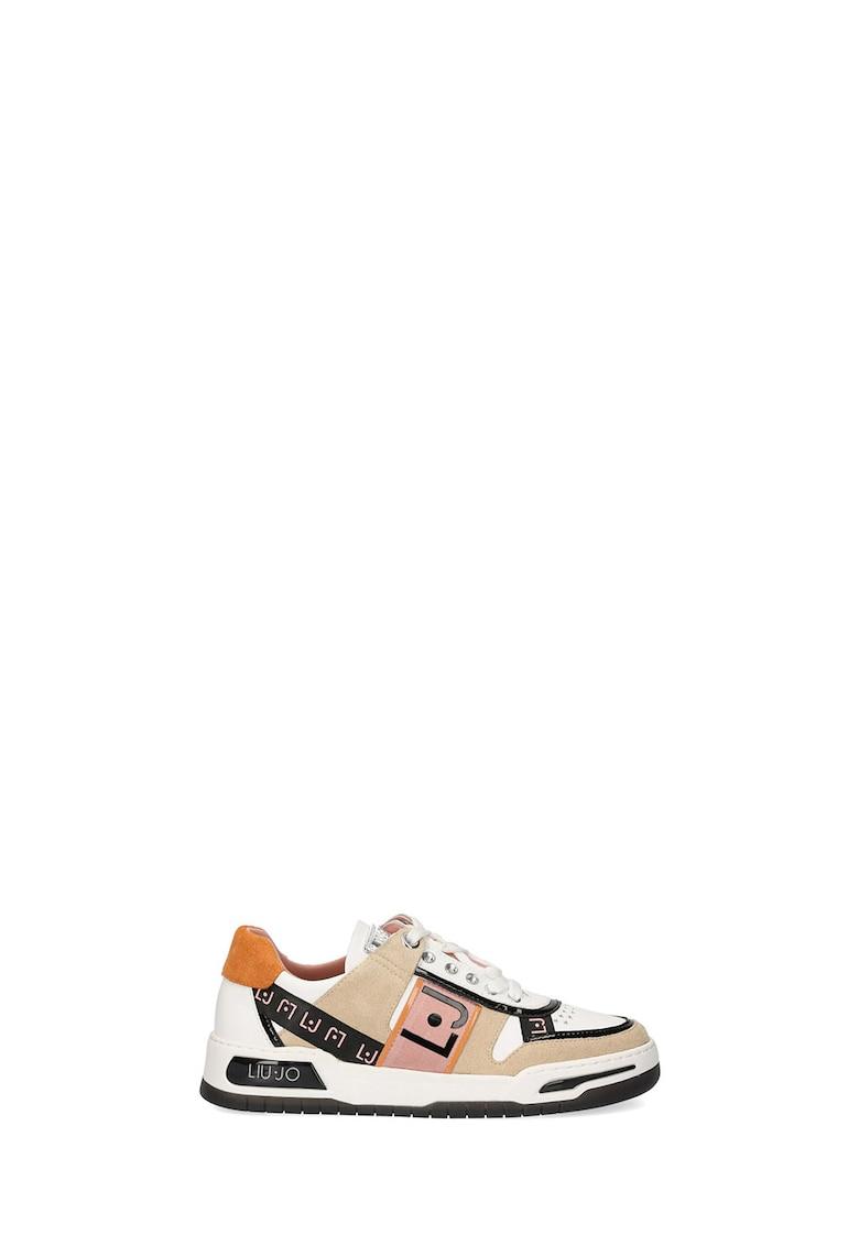 Pantofi sport cu insertii de piele Gyn